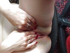Bbw rusa madura masturbación en silla